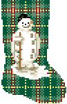 Victorian Snowman dollhouse miniature needlepoint Christmas stocking chart